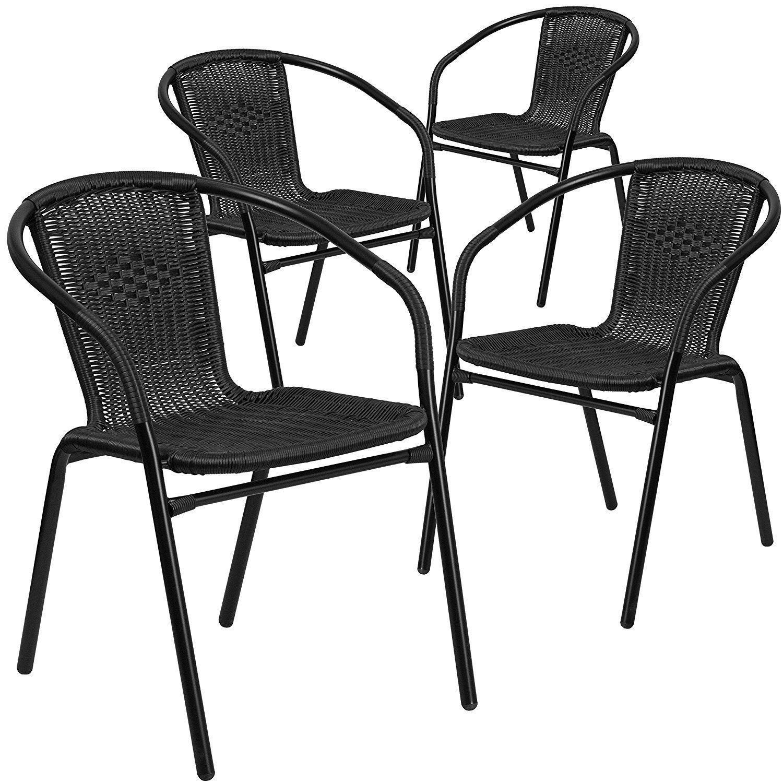 Flash Furniture Rattan Indoor Outdoor Restaurant Stack Chair 4