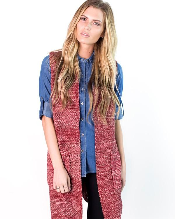 Kimber Long Sweater Vest   Long knit sweater, Long sweater