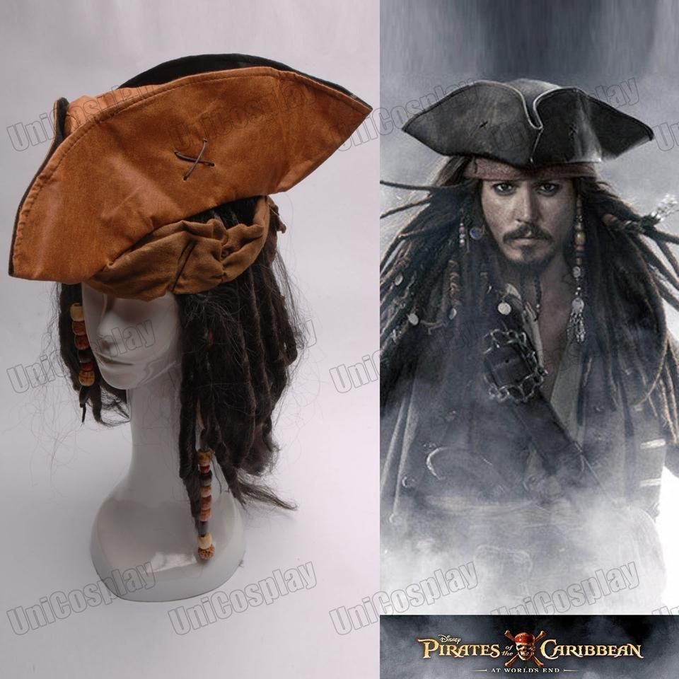 Pirates of the Caribbean Jack Captain Cosplay Hat Wig Beard Tricorn
