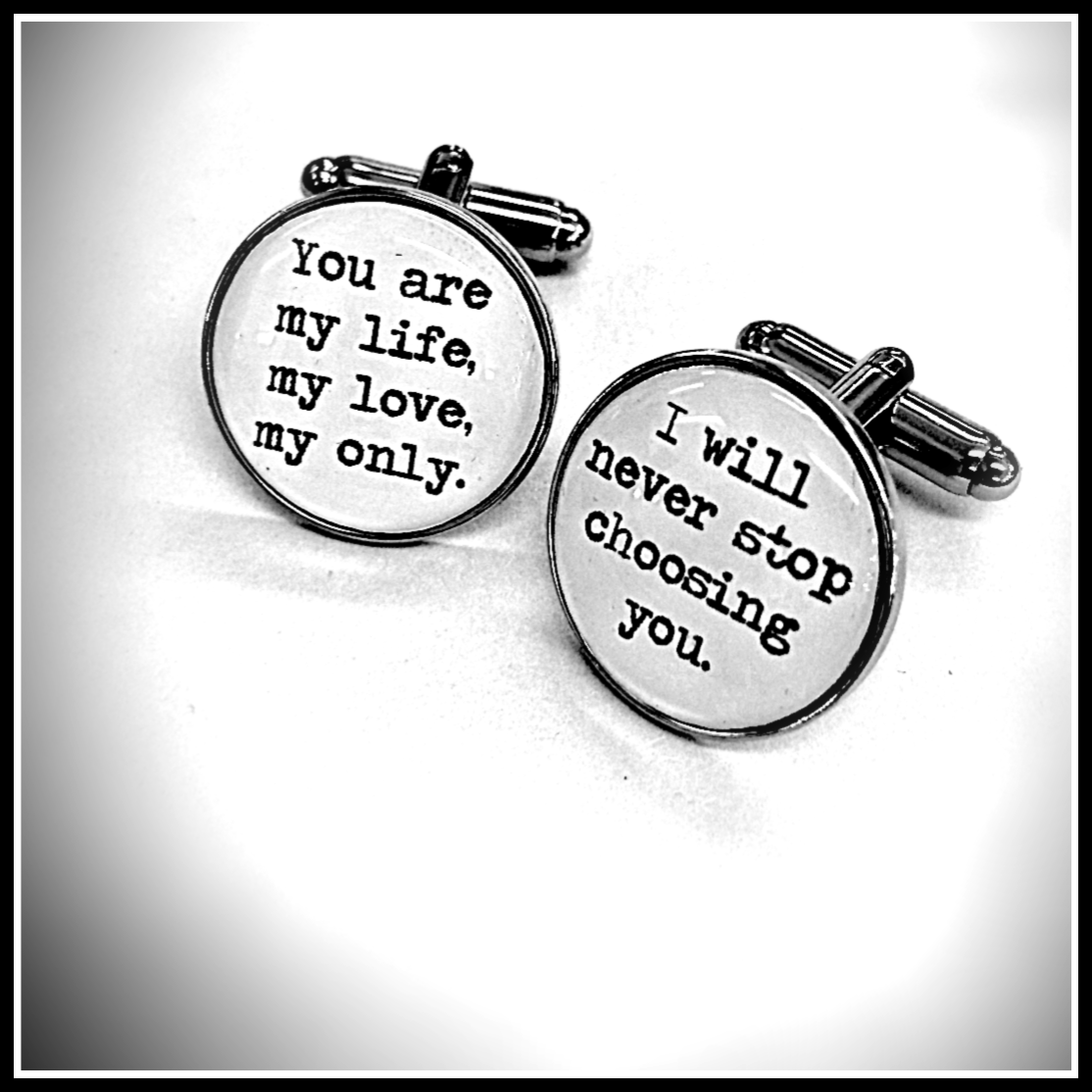 Wedding Vows Paper Anniversary Gift For Husband Song Lyrics Gift UK, Personalised Cufflinks For Groom 1st Anniversary Gift For Him