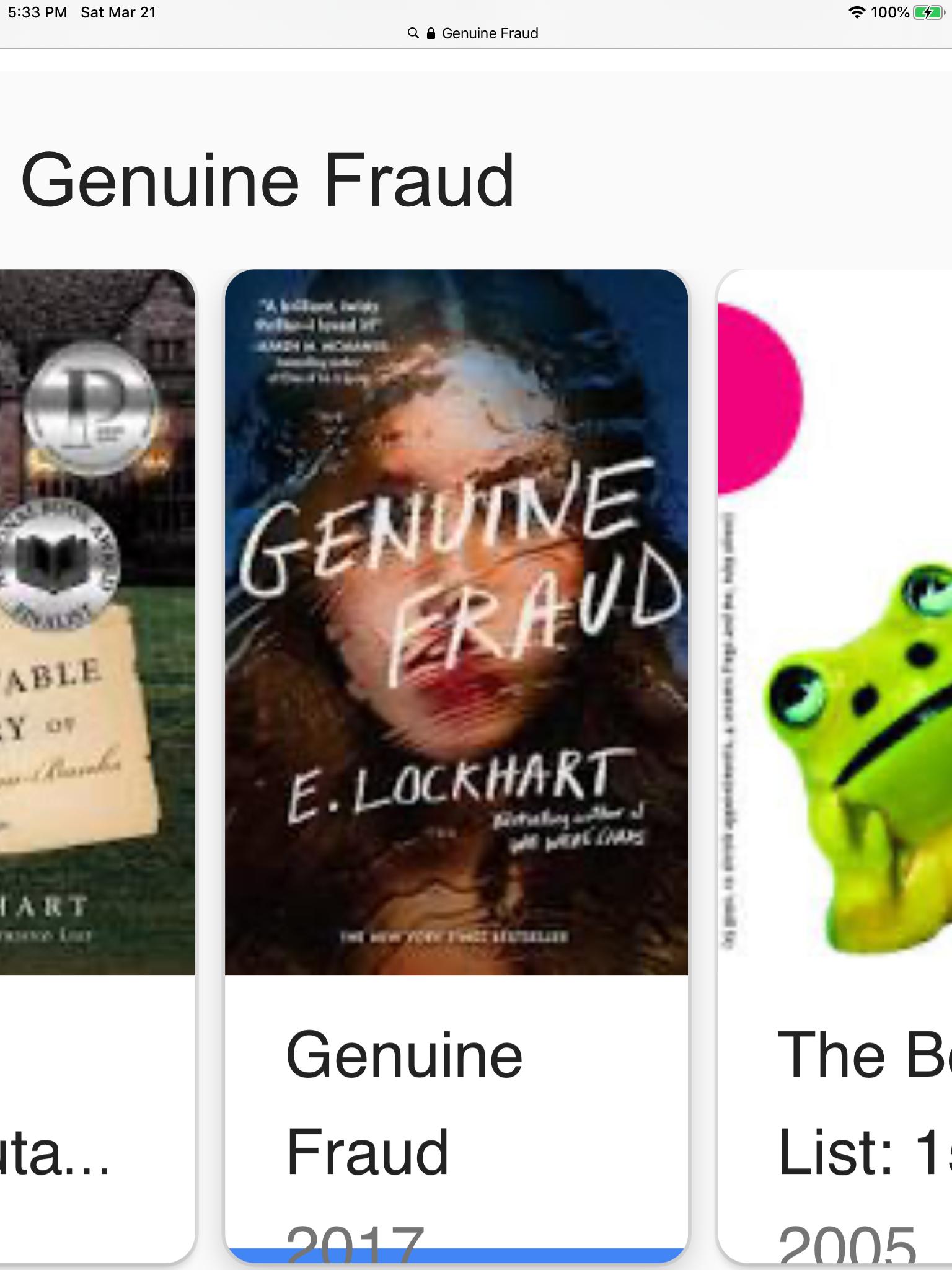 Genuine Fraud By E Lockhart Ya Novel In