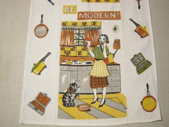 Vintage Towel Be Modern Fab 50u0027s Housewife