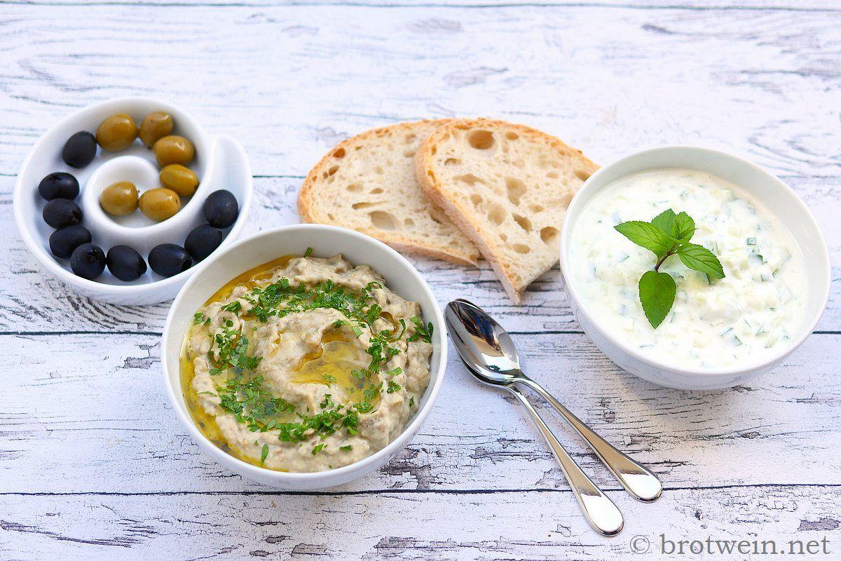 Baba Ghanoush und Mutabbal - Zwei arabische Auberginen Cremes - Brotwein