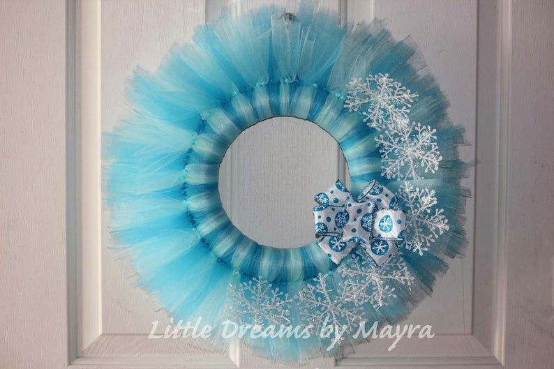 Frozen wreath, Winterland wreath, Winterland party decorations, Frozen party decorations, Turquoise tutu wreath