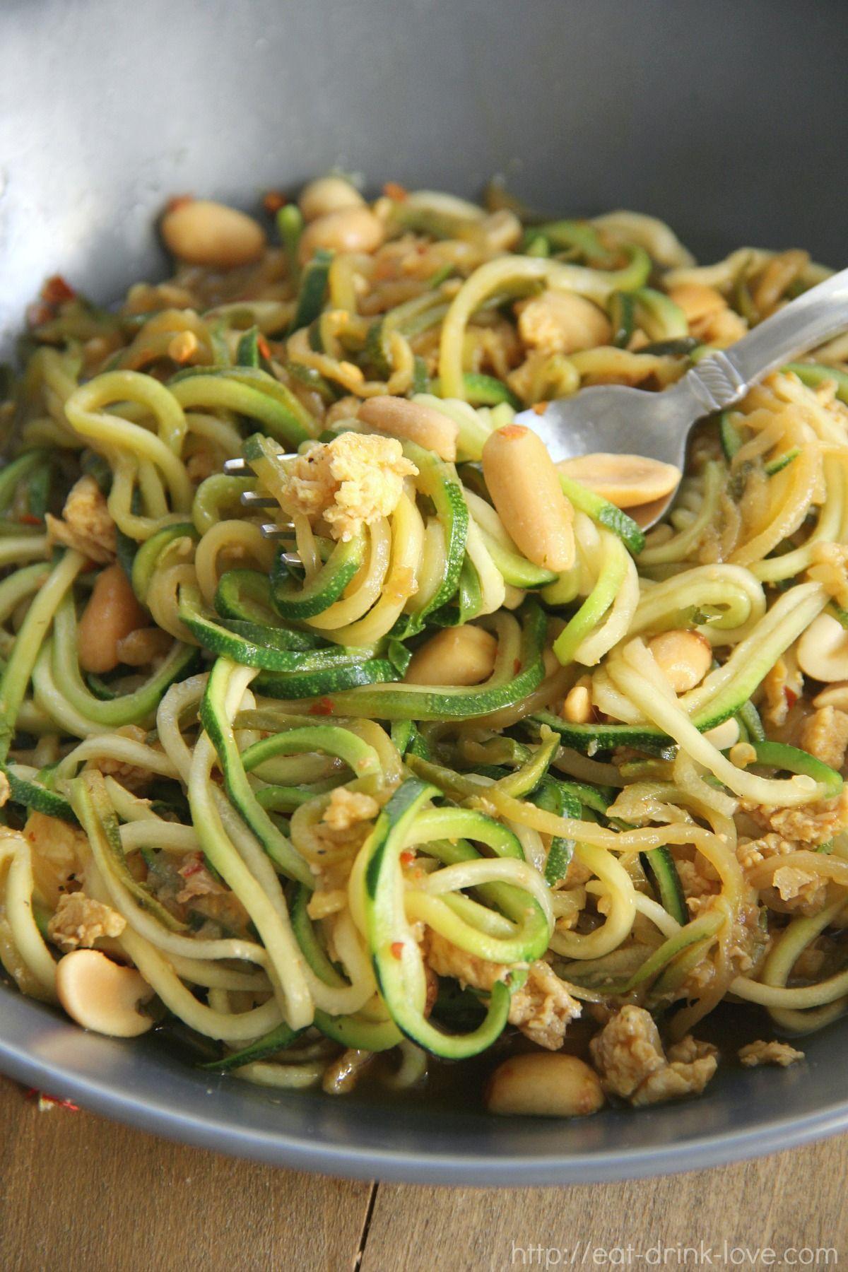 zucchini pad thai  recipe  spiral vegetable recipes