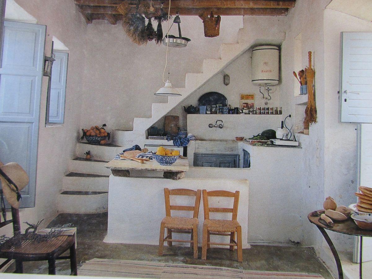 Small Masonry Kitchen Under Stairs. Country Maison