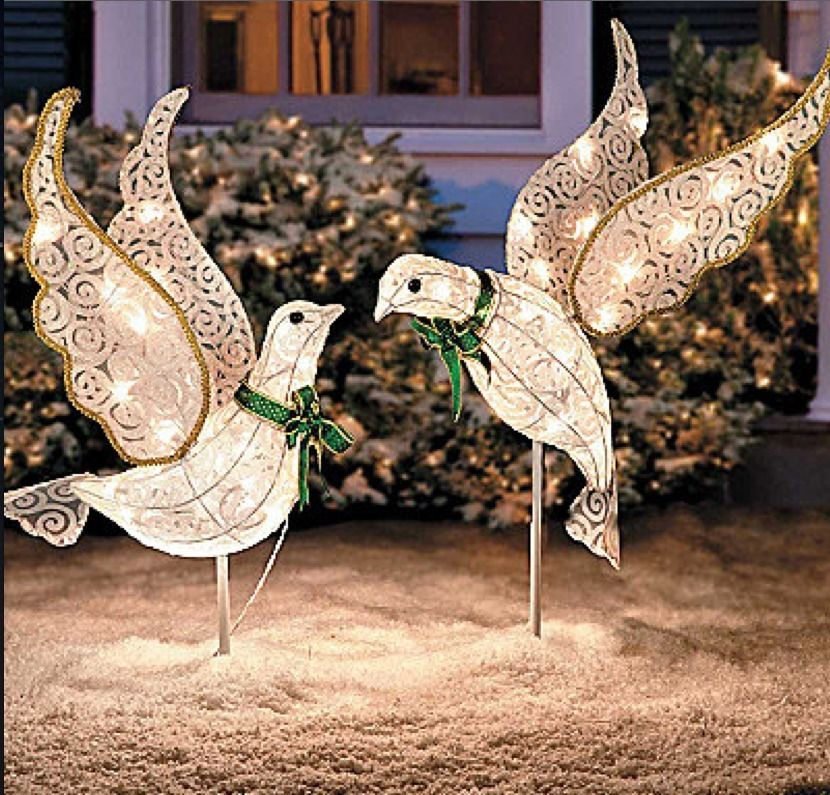 Set 2 christmas lighted glitter doves outdoor yard angel nativity - outdoor angel christmas decorations