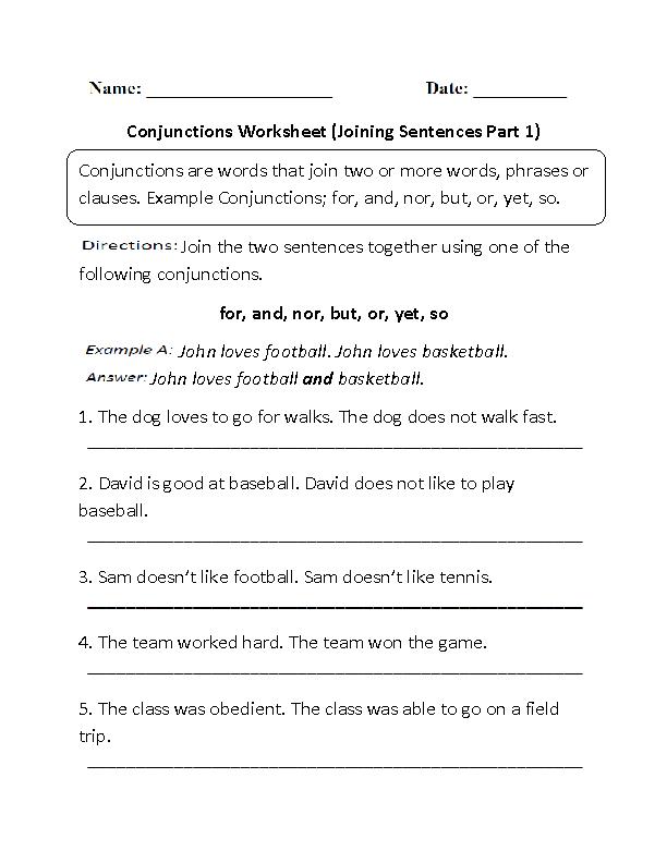 Printable Worksheets grade 3 sentence worksheets : Conjunctions Worksheet Joining Sentences Part 1 | Englishlinx.com ...