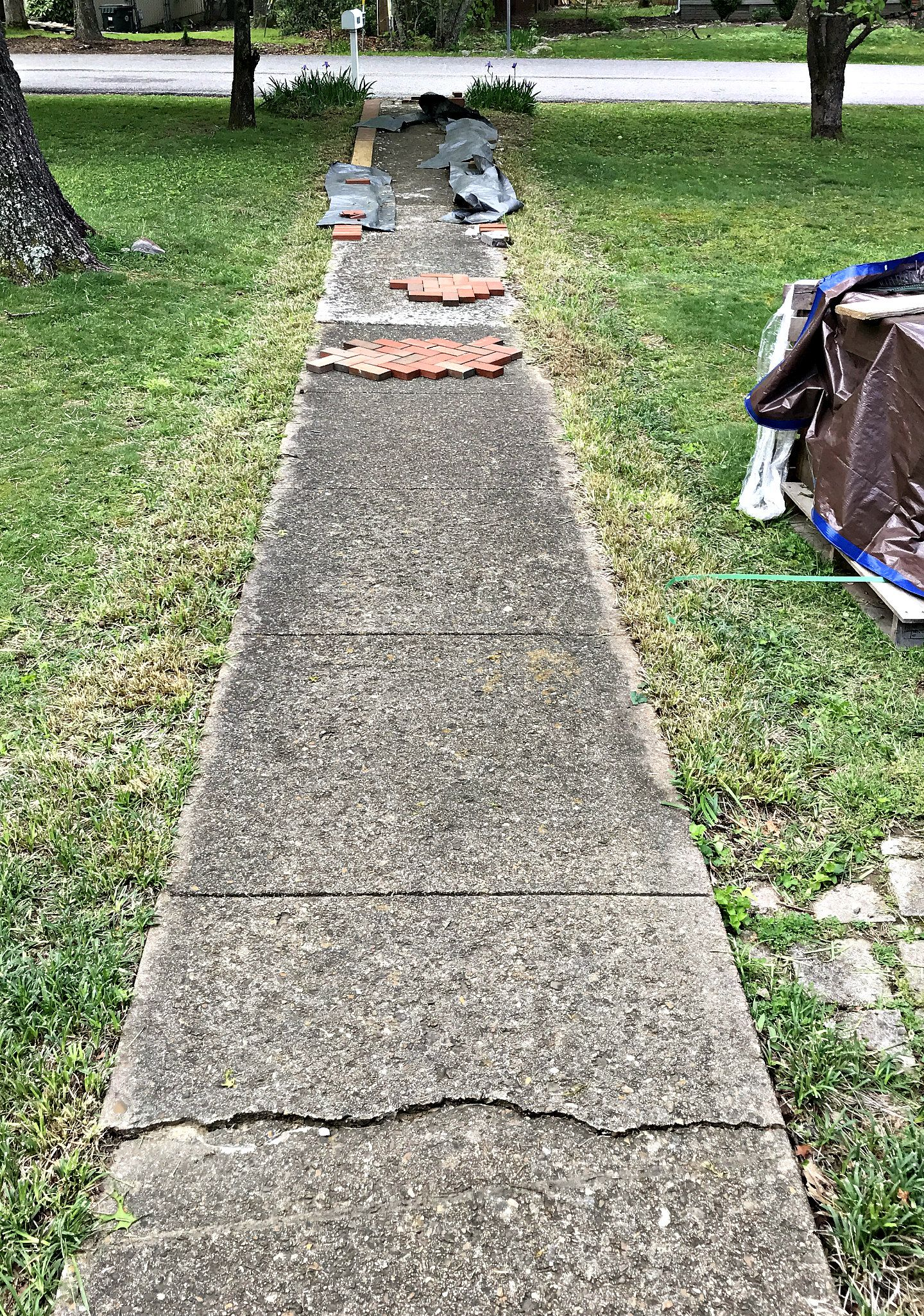 Installing Brick Pavers Over Existing Cement Sidewalk Concrete Patio Makeover Brick Paver Patio Brick Sidewalk