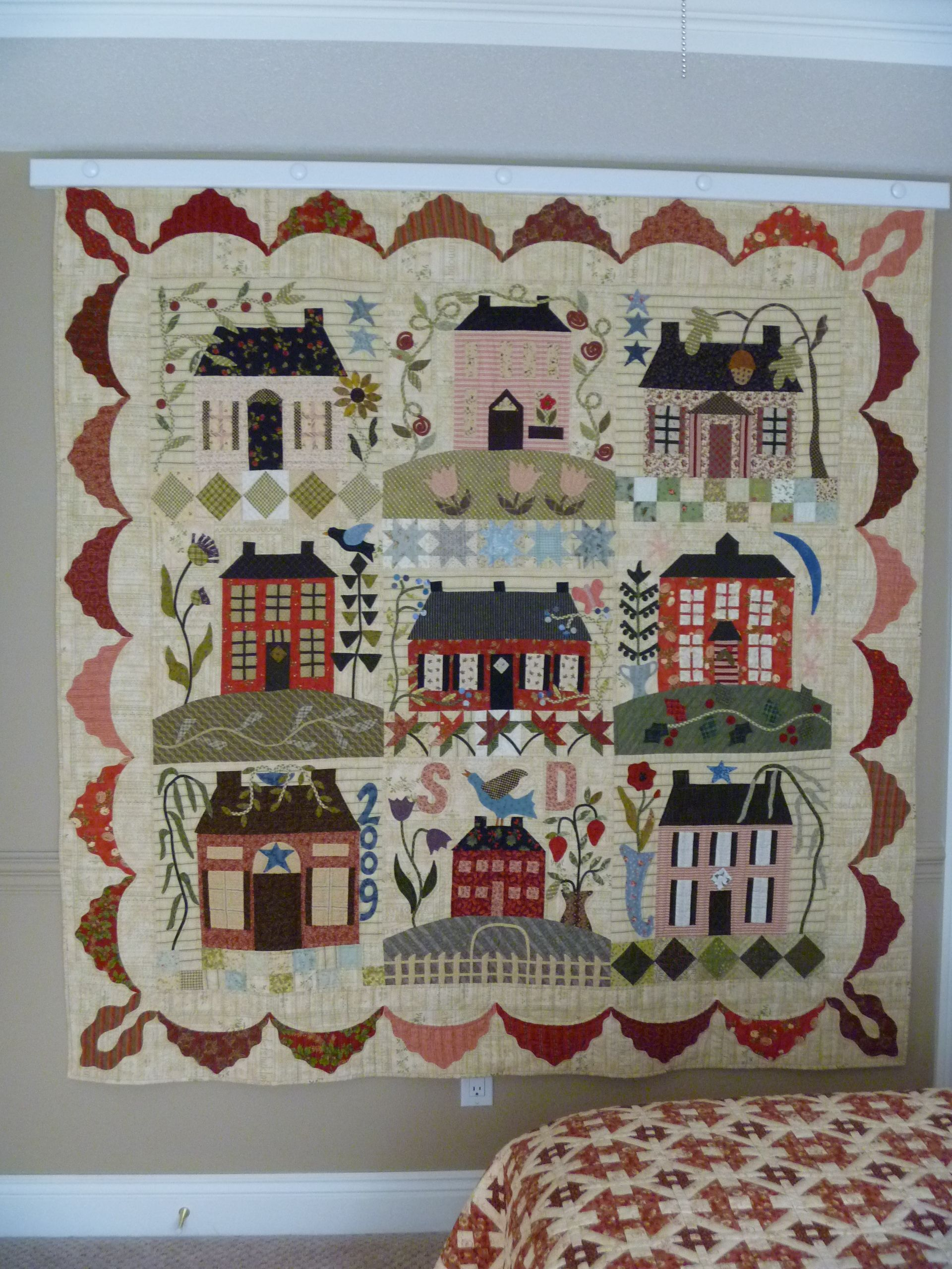 Home Sweet Home. Hand appliqued and hand quilted. Pattern by Blackbird Designs.