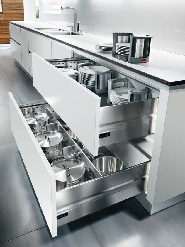 The 120cm Wide Drawers Are Divided Into Sections And Contain