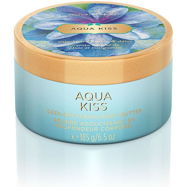 Victoria's Secret Aqua Kiss Deep-Softening Body Butter (115 NOK) ❤ liked on Polyvore featuring beauty products, bath & body products, body moisturizers, beauty, filler, print, victoria's secret and body moisturizer