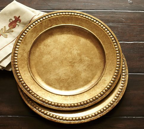 Beaded Gilt Charger Pottery Barn Pottery Thanksgiving Decorations