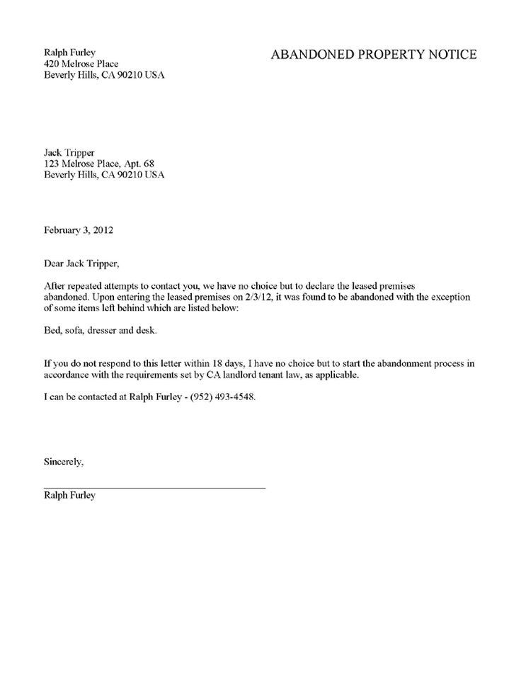 Printable Sle Tenant 30 Day Notice To Vacate Form Lettering