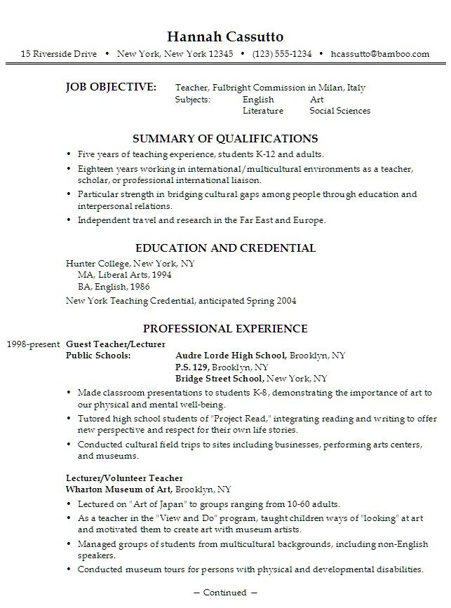 Esl Resume Points  Esl Tips    Resume Examples