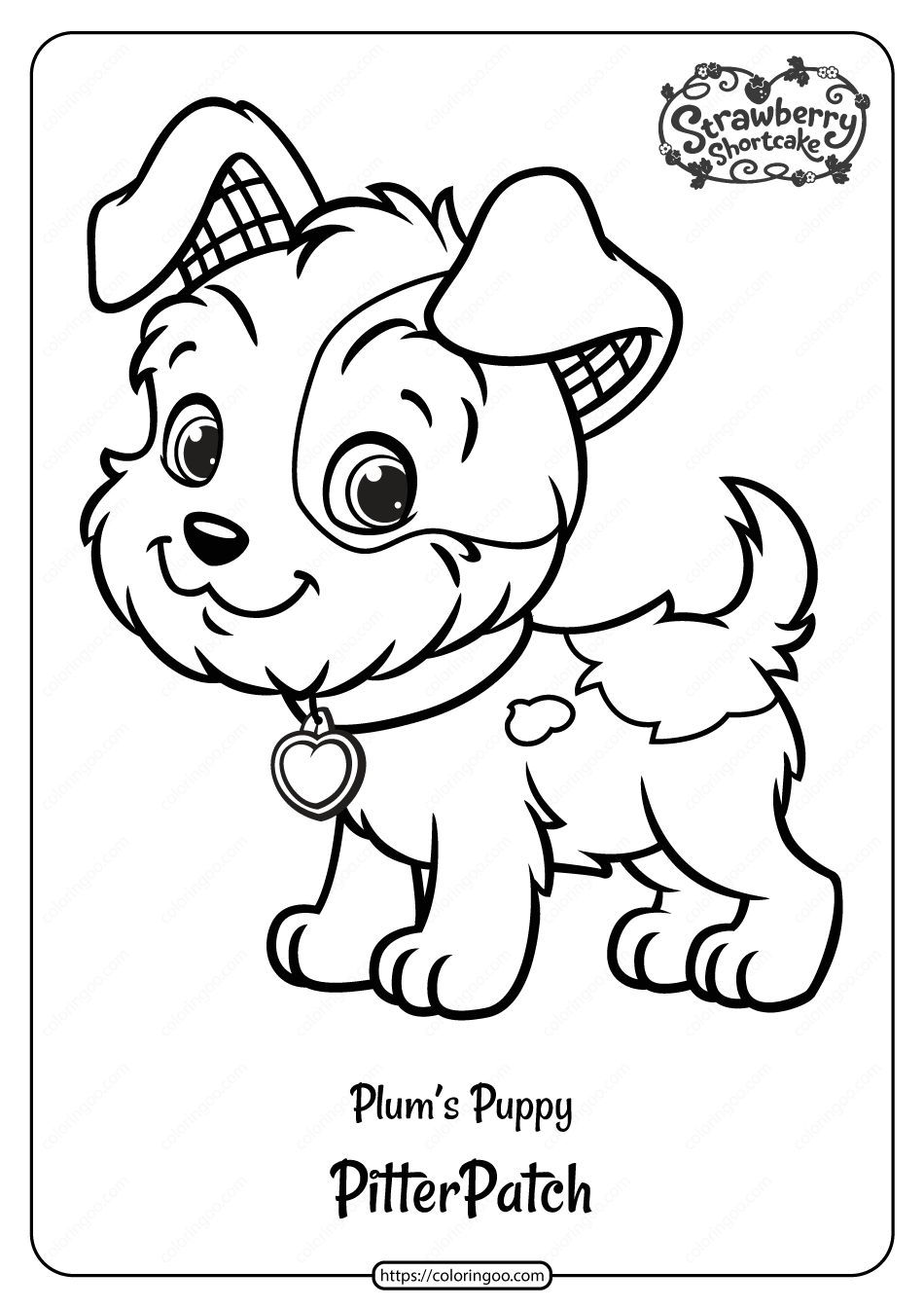 Free Printable Plum S Puppy Pitterpatch Coloring Page Strawberry Shortcake Coloring Pages Puppy Coloring Pages Dog Coloring Page [ 1344 x 950 Pixel ]
