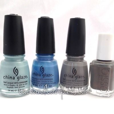 China Glaze Sea Spray, Secret Peri-Wink-Le, Recycle and   Essie Armed and Ready