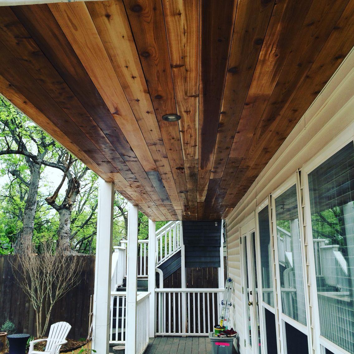 Cedar ceiling over patio | Porch ceiling, Outdoor living ...