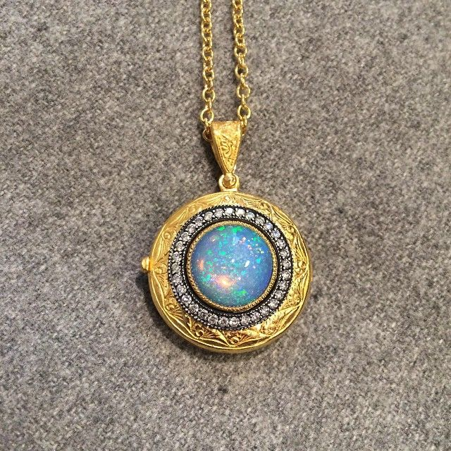 pin etched fob locket opal necklace antique star by maejeanvintage lockets