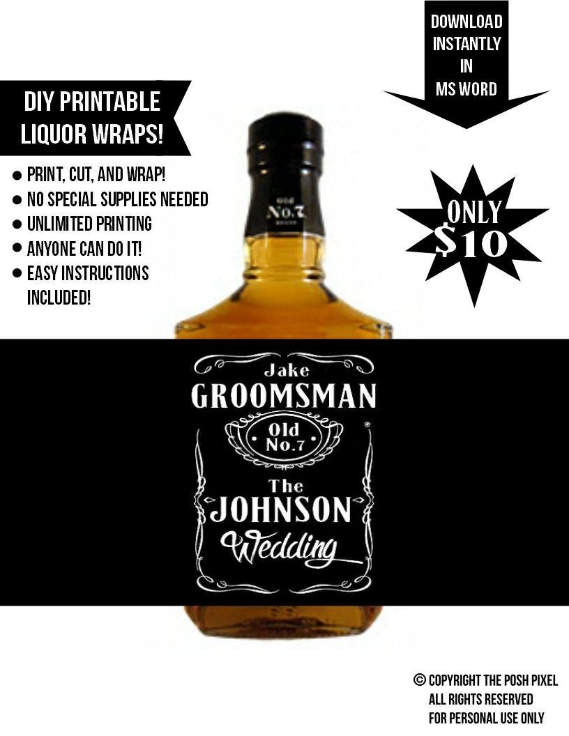 Printable Whiskey Wraps Groomsman Gifts Groomsmen Whiskey