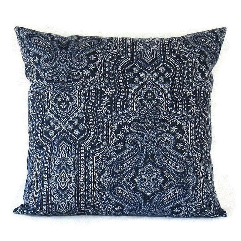 Blue & White Paisley Pillow cover