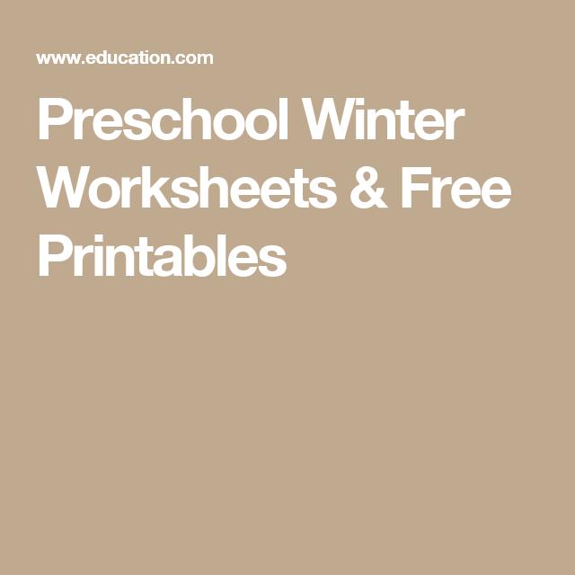 Preschool Winter Worksheets Free Printables School Pinterest