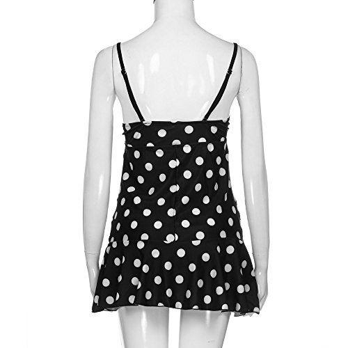 b0da1f004bb37 Women's Plus-Size Swimsuit Retro Polka Dot Print Two Piece Pin up Tankini  Swimwear,