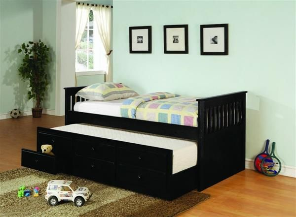Transitional Solid Wood Black Framed Twin Daybed with Trundle ...