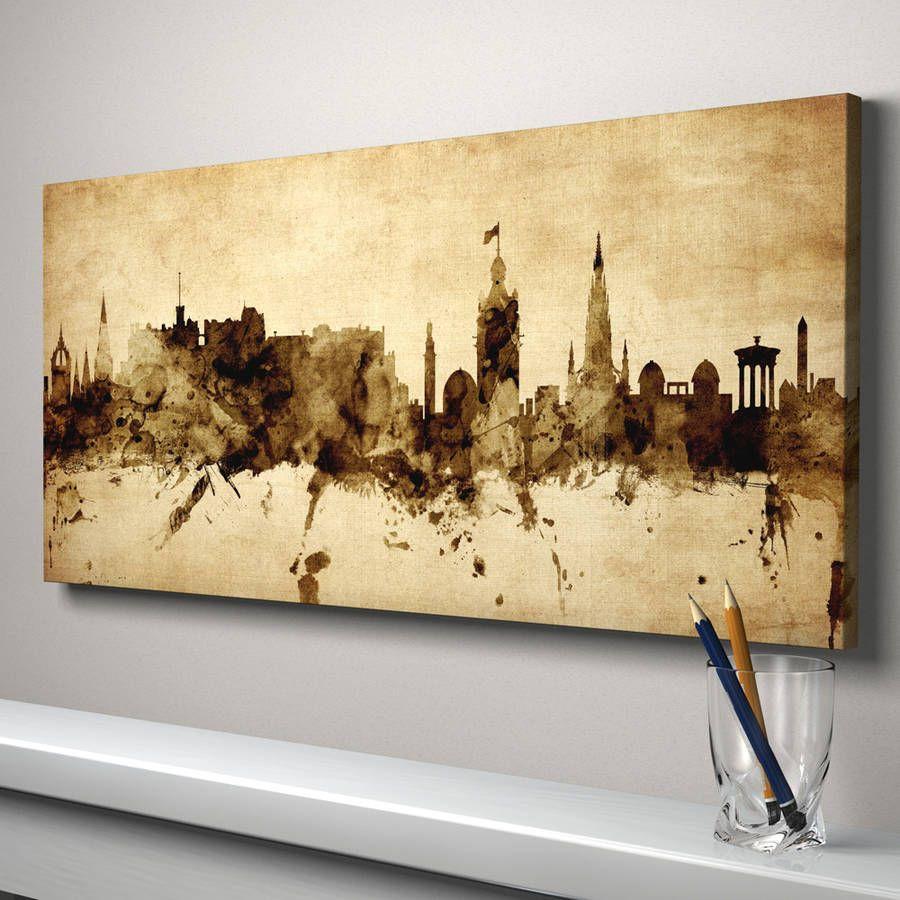 Edinburgh Skyline Cityscape Vintage Art Print | Skyline art ...