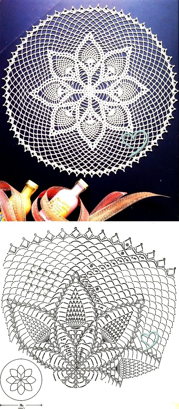 Pineapple Lace Doily Crochet Pattern | corazones de crochet ...