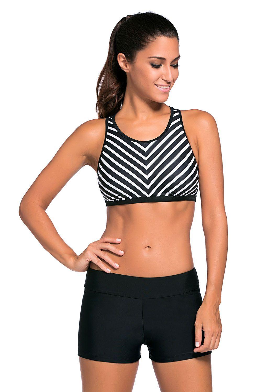 332c22af2dc3b Plus Size Black Stripe Patten Sport Bra Swim Trunk 2pcs Swimsuit ...