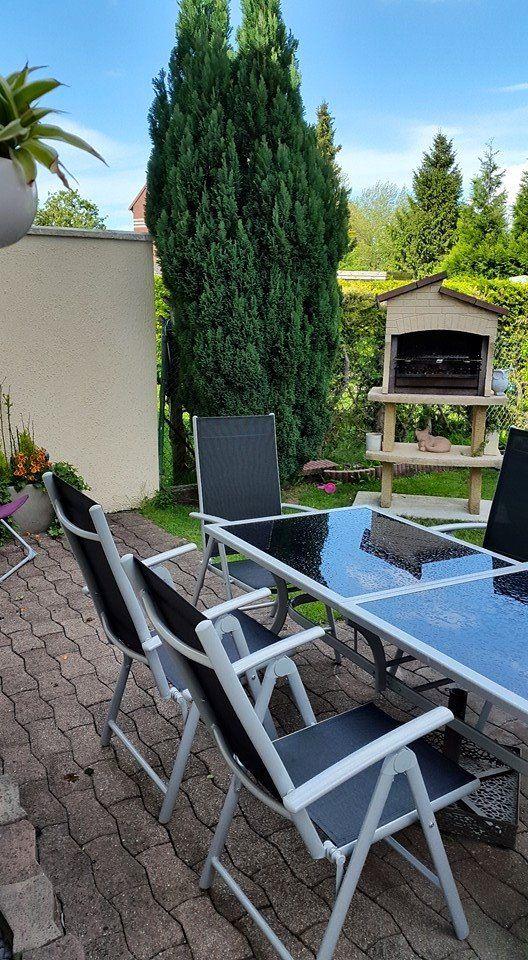 Naevia : table de jardin 8 places en aluminium et textilène #déco ...