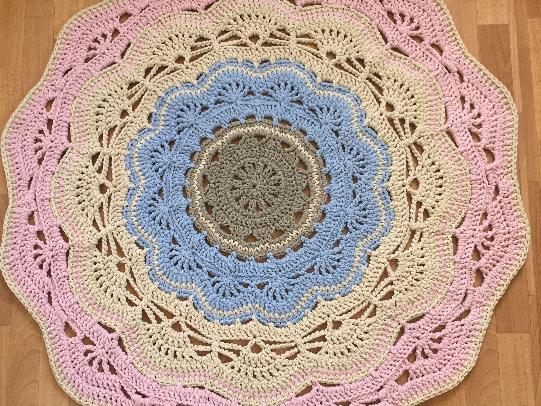 Doily round rug, 47''(120 cm)/Rugs/Rug/Area Rugs/Floor Rugs/Large Rugs/Handmade Rug/Carpet/Cotton Rug by AnuszkaDesign on Etsy