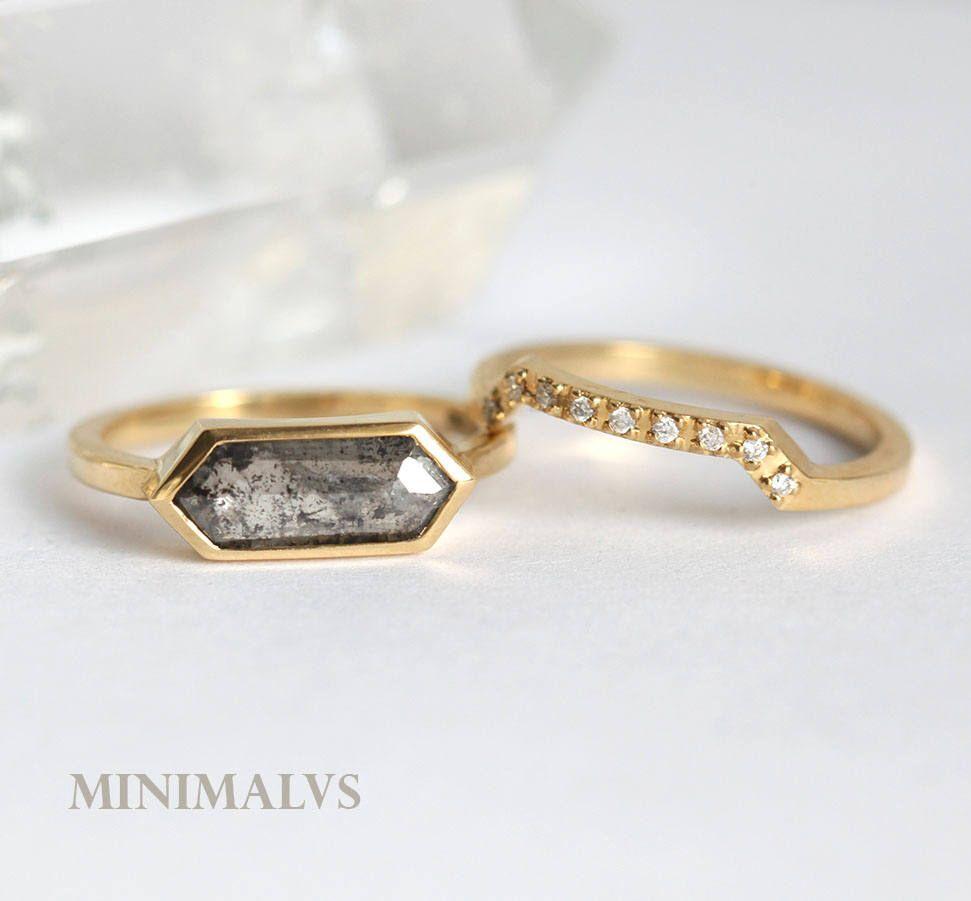 Bridal Set 18k Yellow Gold Diamond ring Hexagon Diamond Ring