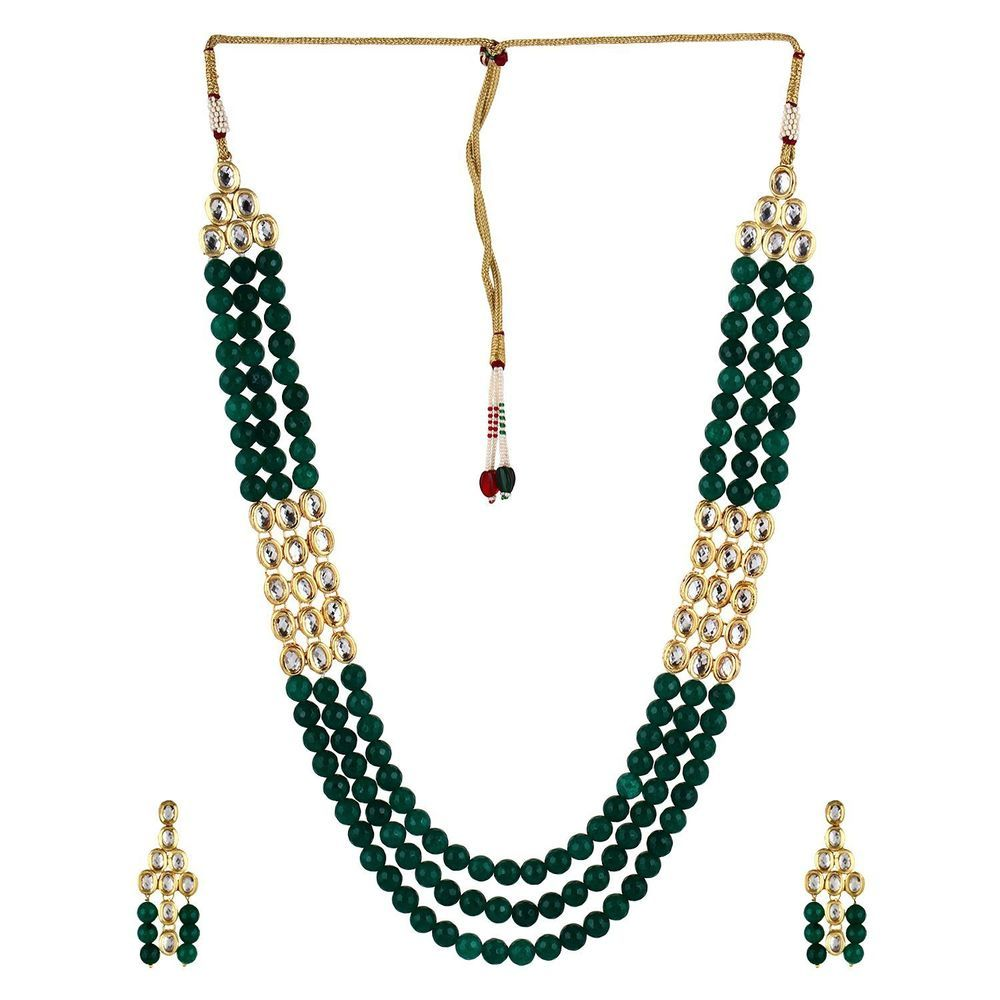 indian traditional designer green kundan and onyx beads necklace set