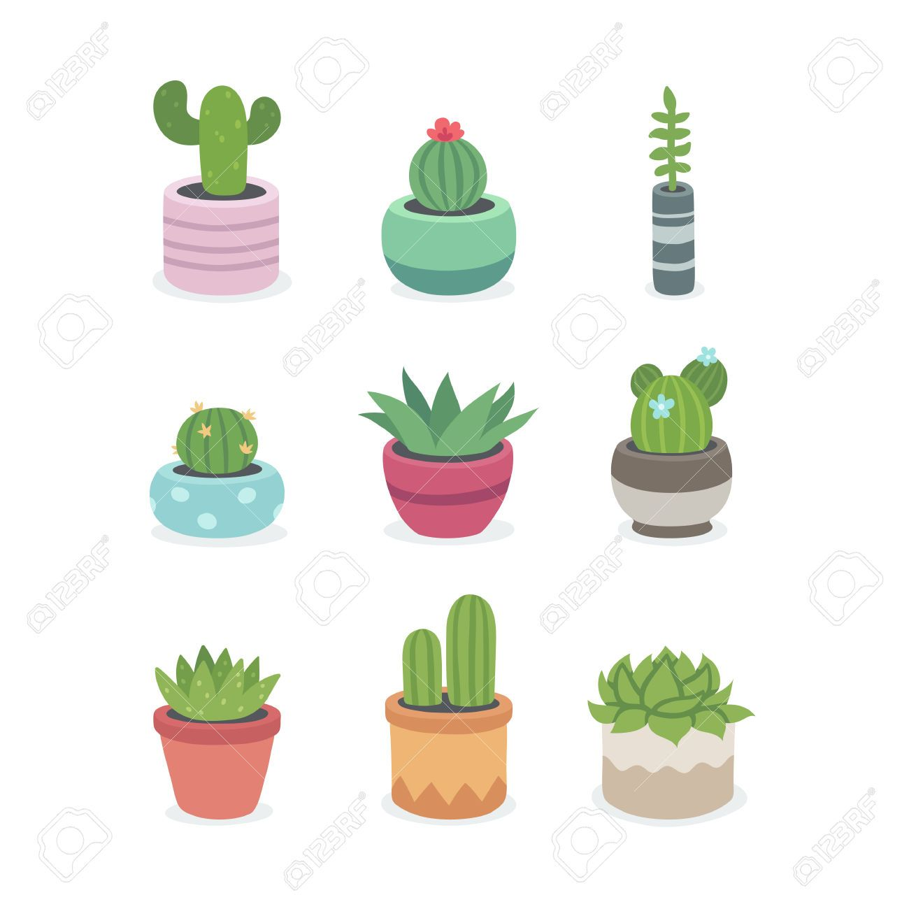 Cactus y suculentas en macetas ilustraci n conjunto de - Cactus en macetas pequenas ...