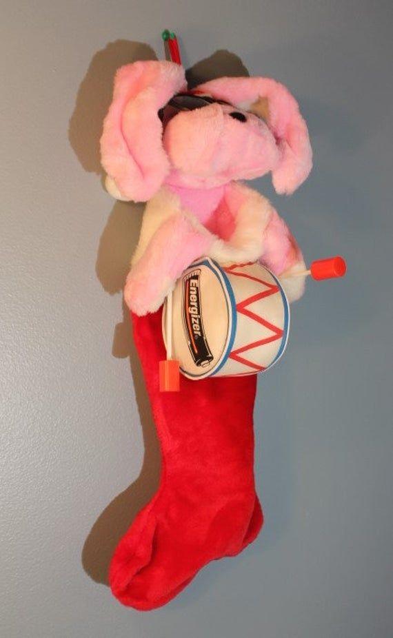 Vintage 1990's Energizer Bunny Plush Christmas Stocking #bunnyplush