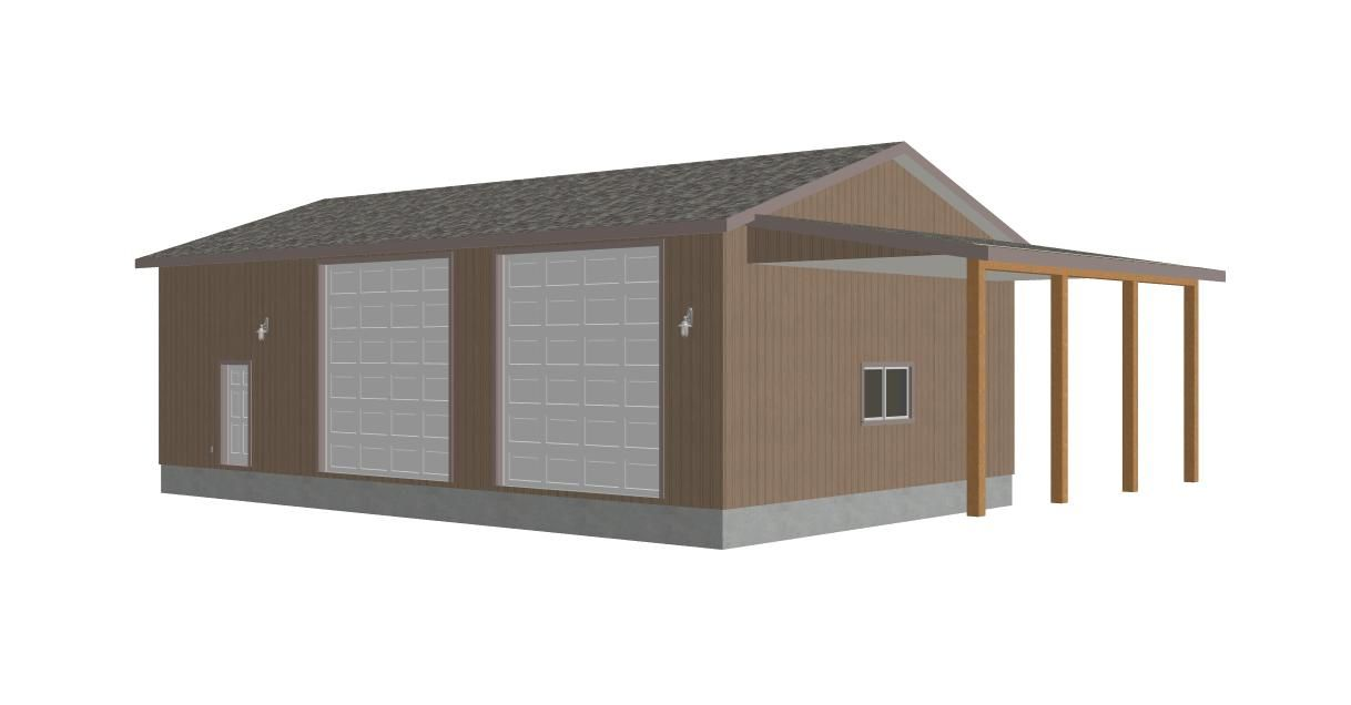 Garage plans garage 300x156 g393 martin 8002 37 30 for Rv garage plans and designs