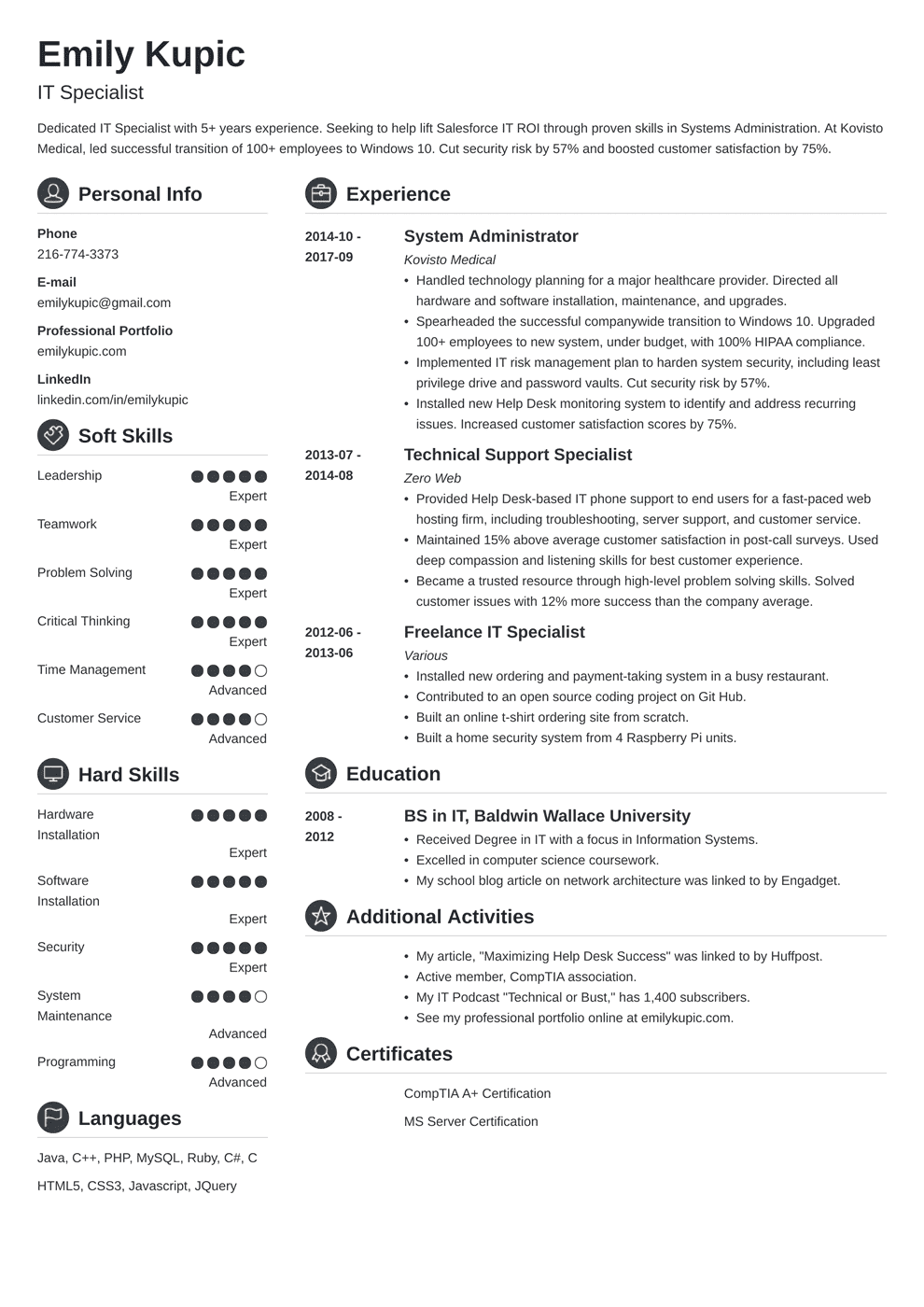 technical resume template crisp in 2020 Resume examples