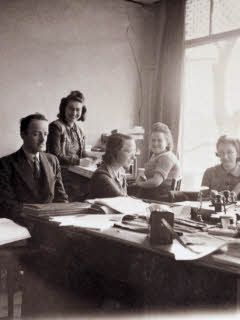 Victor Kugler, Bep, Miep and Esther and Pien in the Opekta office ~ Anne Frank Timeline