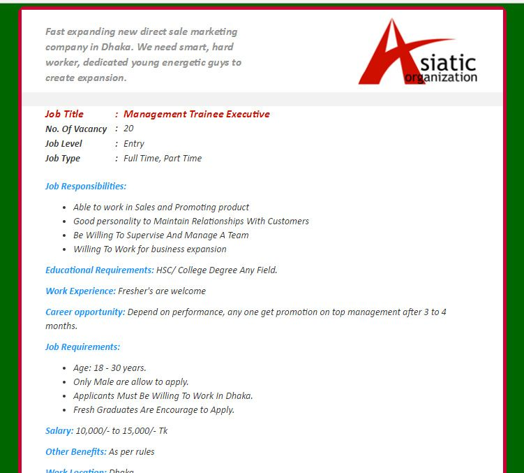 Asiatic Organization  Position Management Trainee Executive
