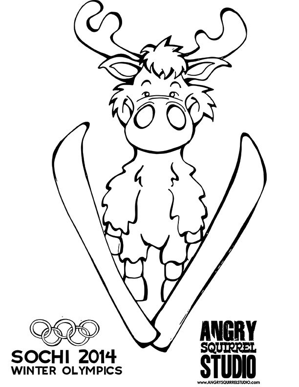 FREE OLYMPIC COLORING PAGE Ski Jumping Moose DOWNLOAD HERE Angrysquirrelstudio