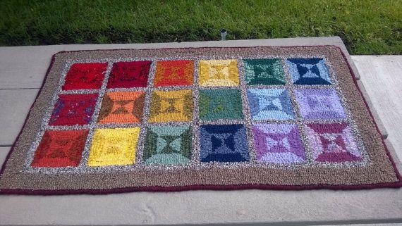 "Primitive hooked rug - ""Rainbow Windows"" 42""x23"""