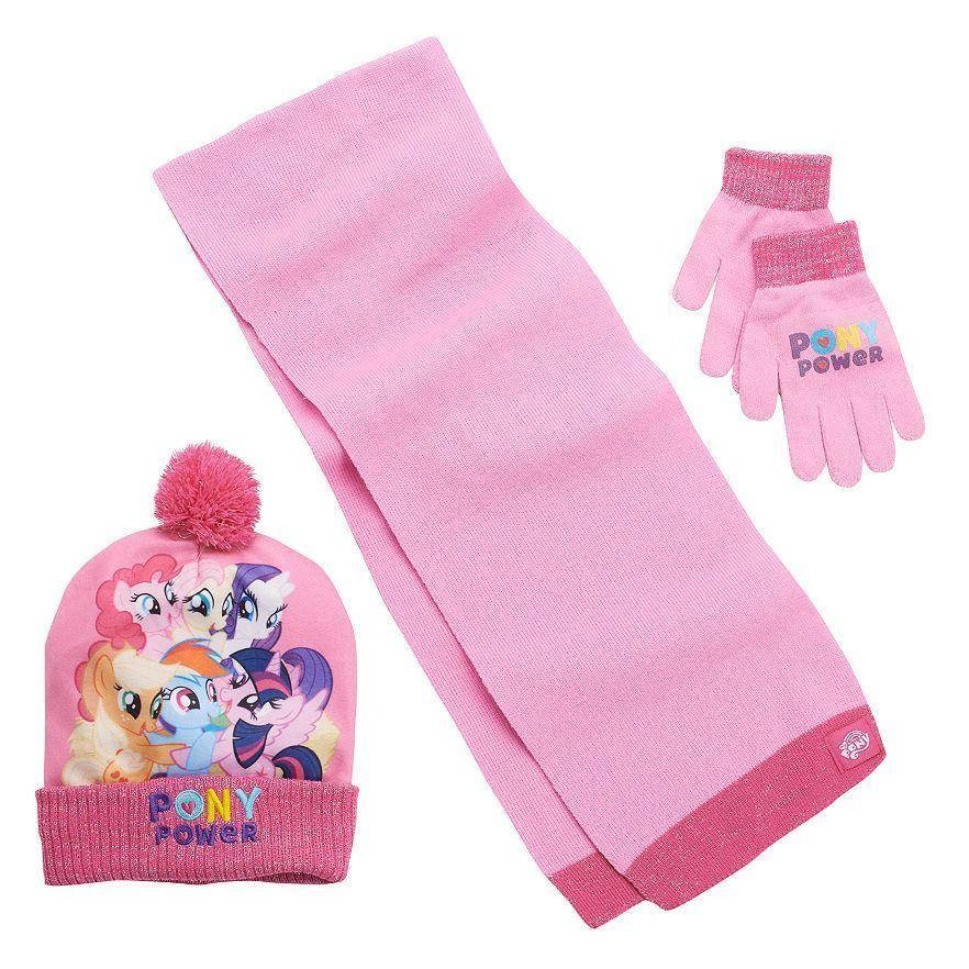 495dbb25540 My Little Pony Rainbow Dash Rarity Pom Pom Hat Gloves Scarf Set Girls 4-16