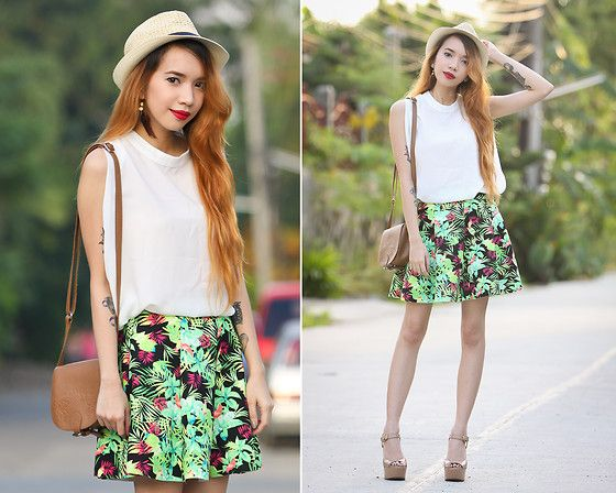 Oasap Braided Straw Hat, Oasap Loose Blouse, Oasap Floral Skirt