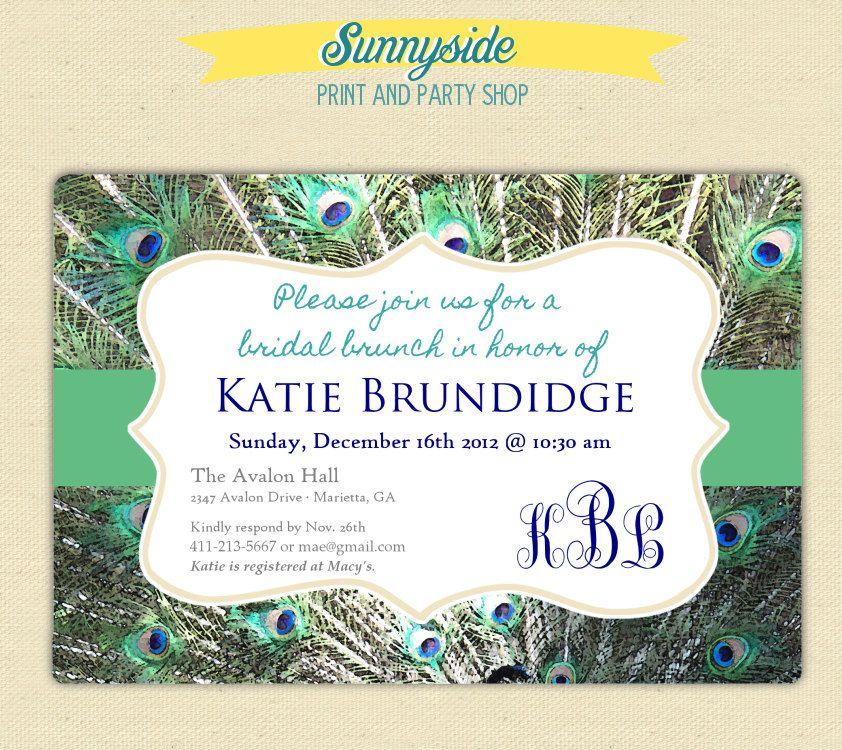 Peacock Wedding Ideas Etsy: Peacock Bridal Shower Brunch Invitation // Printable