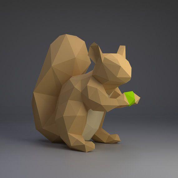 Squirrel Paper Squirrel Origami Squirrel Little Squirrel Etsy Paper Crafts Papercraft Templates Squirrel