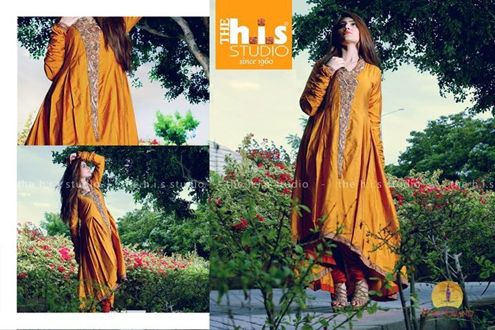 Beats Embroidery on front. Back Tail Flaired Shirt Churridaar Sleeves Churridaar Pajama Chiffon Dupatta Color : Musturd , Deep Orange