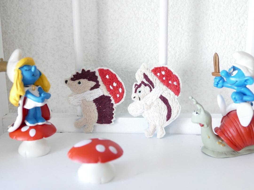 刺繍のブローチは #minne #creema #pinkoi で販売中です #ハリネズミ #hedgehog #ハンドメイド #handmade #刺繍 #刺繍ブローチ#pandafactory #mushroom  #embroidery
