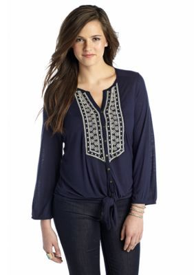 Lucky Brand  Plus Size Ariana Tie Front Top